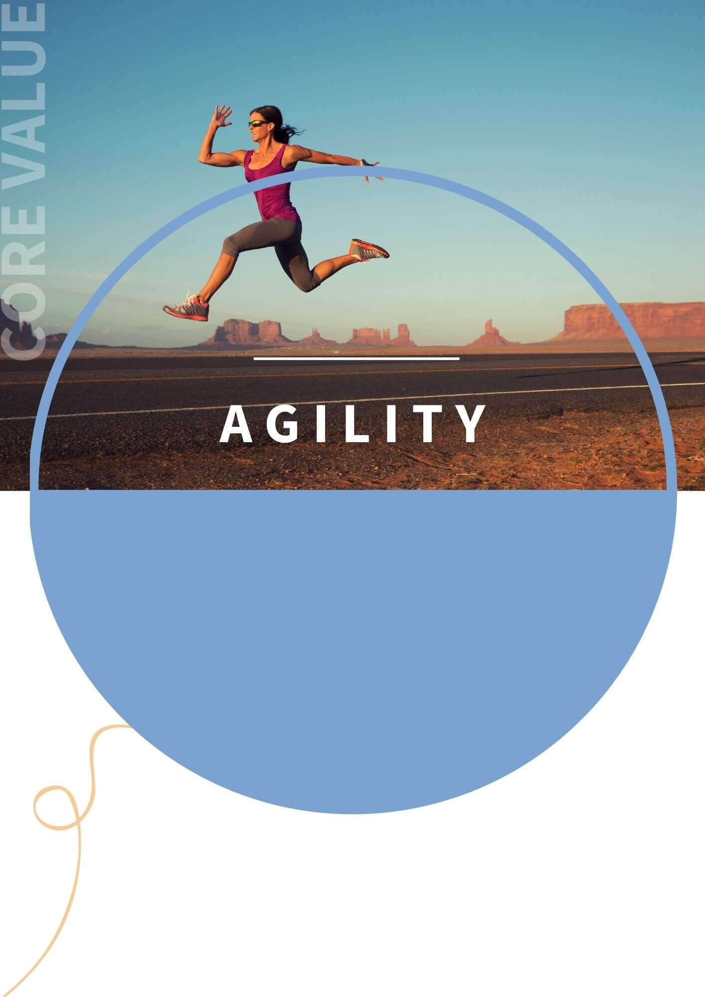 An athlete running across the desert with the word agility