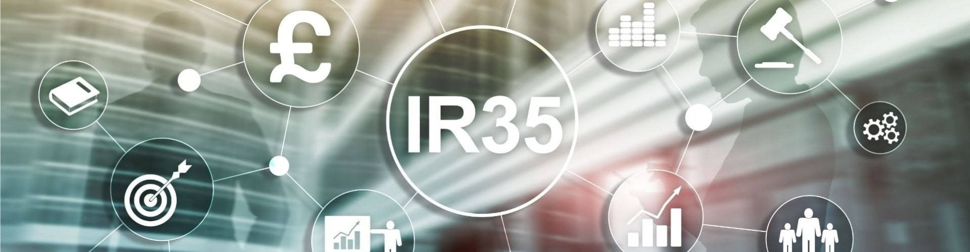 main banner Ir35 image with icons and graph symbols